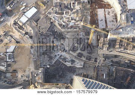 Building Crane In Dubai City Top View