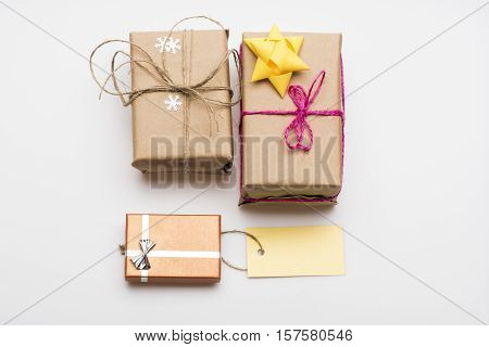 Decorated Christmas Gift On White Background
