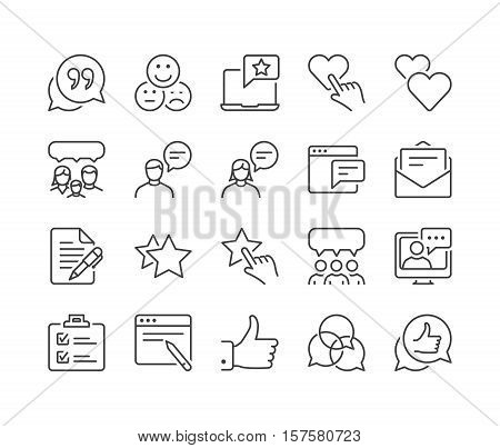 feedback and testimonials thin line icon set black color isolated
