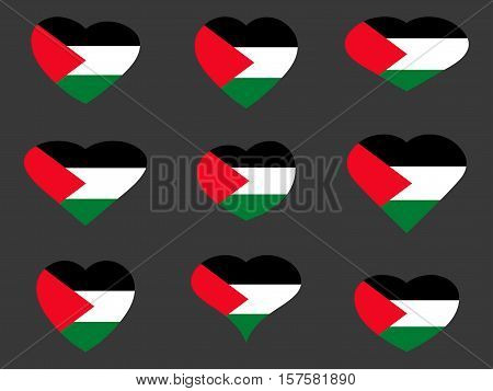 Hearts With The Flag Of Palestine. I Love The Palestine. Palestine Flag Icon Set. Vector Illustratio