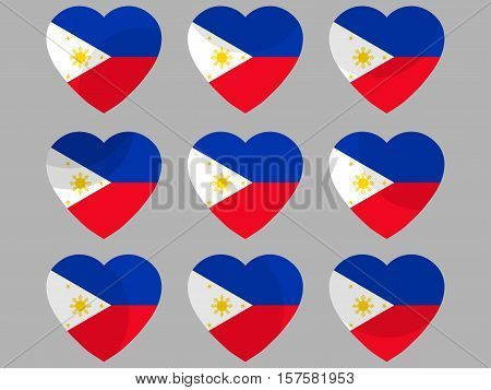 Hearts With The Flag Of Philippines. I Love The Philippines. Philippines Flag Icon Set. Vector Illus