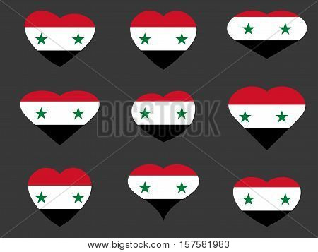 Hearts With The Syrian Flag. I Love Syria. Syria Flag Icon Set. Vector Illustration.