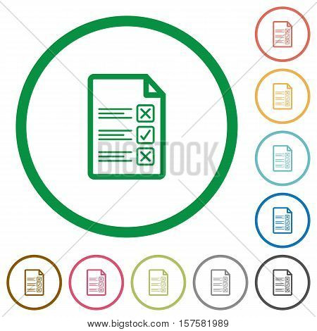 Questionnaire document flat color icons in round outlines