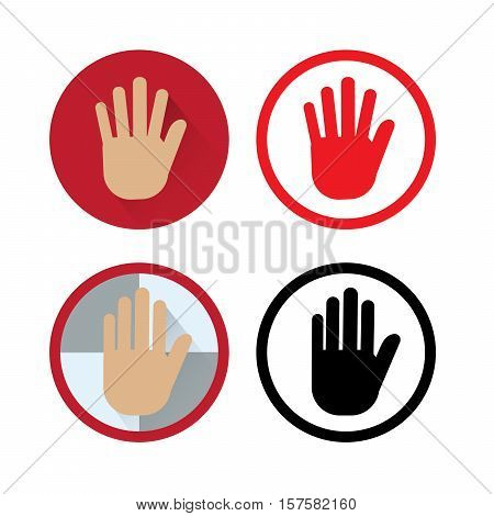 Flat icon of human hand : stop or pause.