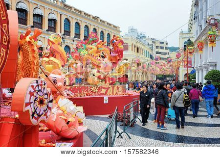 The Senado Square In Macau Decorated For The Chinese New Year