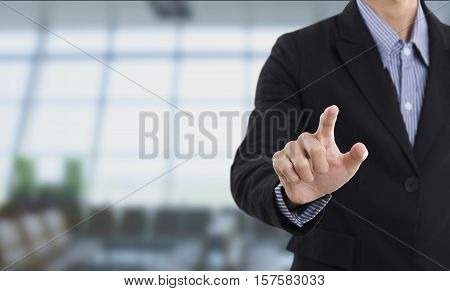 businessman hand pressing empty button on virtual screen. copy space template. business concept.