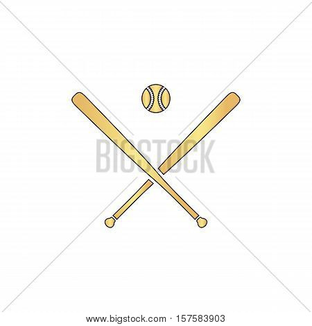 baseball Gold vector icon with black contour line. Flat computer symbol