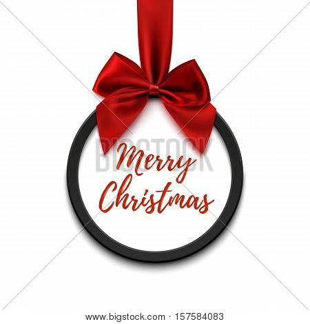 Merry Christmas black round banner with red ribbon and bow, isolated on white background. Brochure or banner template.
