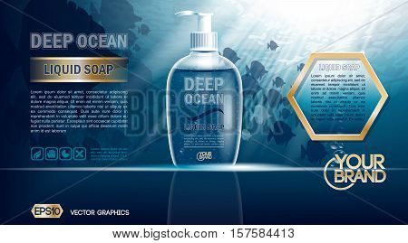 Digital vector blue deep ocean liquid soap mockup on water background with bubbles and fish, your brand, ready for design. Realistic style