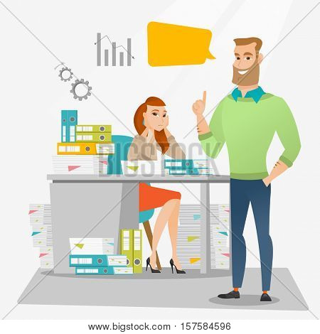 Stressed office worker looking at her happy employer. Stressful employee sitting at workplace with many stacks of papers. Concept of stress at work. Vector flat design illustration. Square layout.