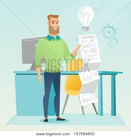Caucasian businessman showing financial report. Hipster businessman presenting his business report. Businessman working on a financial business report. Vector flat design illustration. Square layout.