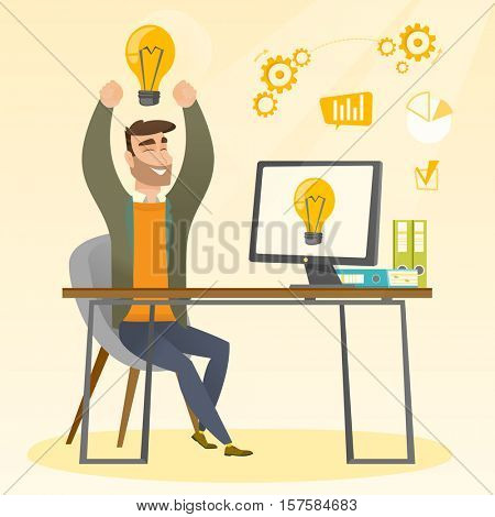 Young man with arms up got a business idea. Cheerful businessman working on a computer with business idea bulb on a screen. Business idea concept. Vector flat design illustration. Square layout.