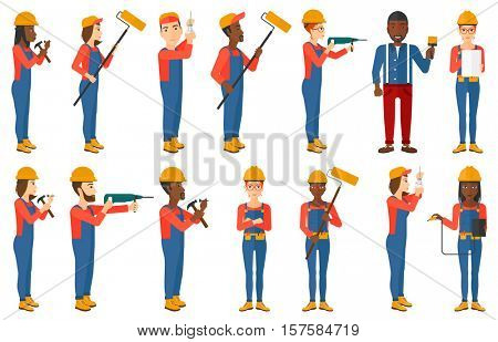 Electrician twisting light bulb. Electrician installing light bulb. Electrician changing light bulb. Electrician measuring voltage. Set of vector flat design illustrations isolated on white background
