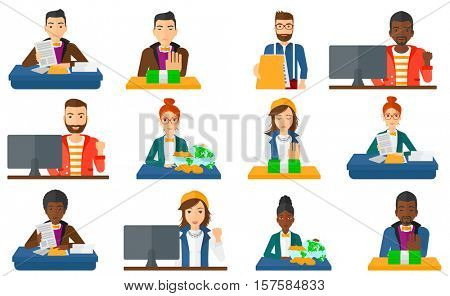 Incorrupt businessman moving dollar bills away. Incorrupt businessman refusing to take money bribe. Bribery and corruption concept. Set of vector flat design illustrations isolated on white background