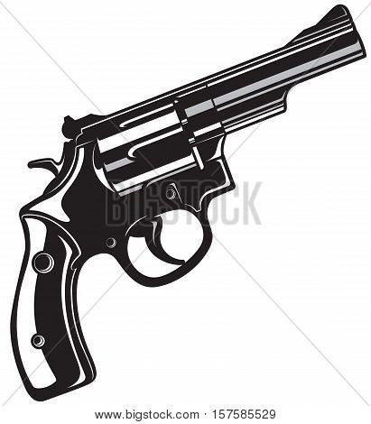 Black Revolver Gun isolated on white background. Vector illustration.
