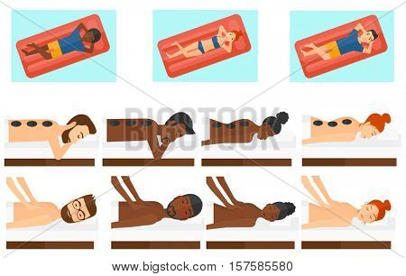 Man relaxing while getting stone therapy massage. Man receiving a hot stone massage. Woman having stone massage in spa salon. Set of vector flat design illustrations isolated on white background.