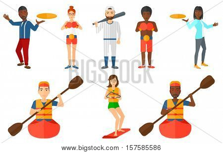 Sportsman riding in kayak. Man with skull in hands traveling by kayak. Male kayaker paddling. Young kayaker paddling a canoe. Set of vector flat design illustrations isolated on white background.