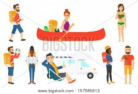 Tourist holding coconut cocktail. Young man drinking a coconut cocktail. Woman enjoying her coconut cocktail at beach resort. Set of vector flat design illustrations isolated on white background.