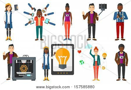 Smiling woman making selfie. Young man taking photo with cellphone. Man looking at smartphone and taking selfie with selfie stick. Set of vector flat design illustrations isolated on white background.
