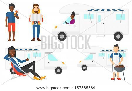 Young man cooking meat on barbecue grill on the background of camper van. Man travelling by camper van and having barbecue party. Set of vector flat design illustrations isolated on white background.