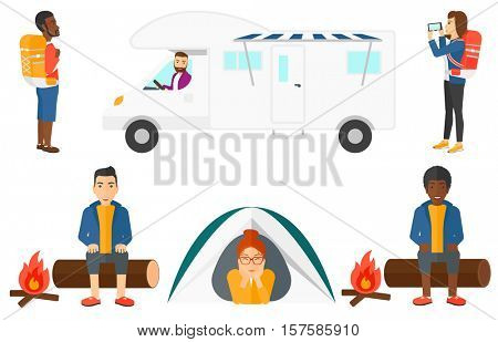 Happy travelling man sitting on a log near campfire. Smiling travelling man resting near campfire. Tourist relaxing in camping. Set of vector flat design illustrations isolated on white background.
