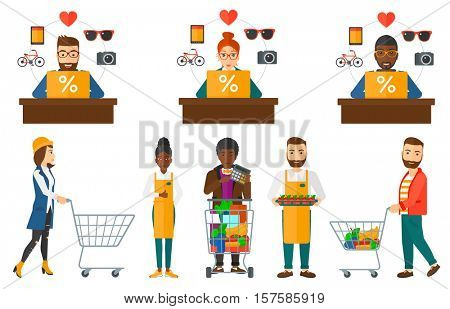 Man pushing supermarket trolley with groceries. Customer shopping at supermarket with trolley. Woman walking with empty trolley. Set of vector flat design illustrations isolated on white background.
