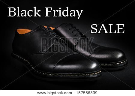 Black Friday.  Oxford Shoes On  Background. Back View. Close Up.