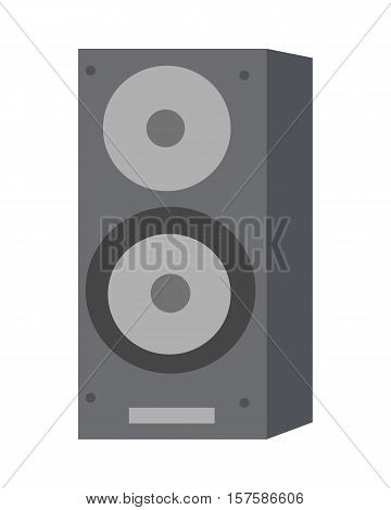 Musical loud speaker isolated on white background. Plastic sound regulating musical device. Music producing column. Professional acoustic amplifier. Vector illustration in flat design style
