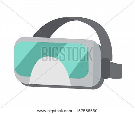 VR Glasses or virtual reality helmet flat style isolated on white. Provides immersive virtual reality for wearer. Used in computer games, other applications, including simulators and trainers. Vector