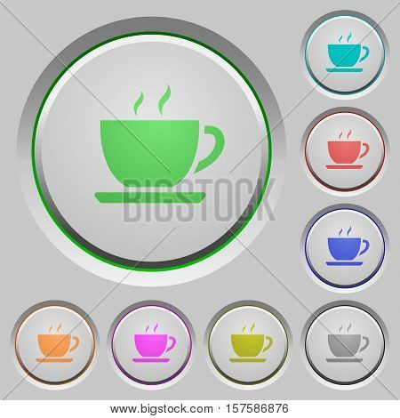 Coffee color icons on sunk push buttons