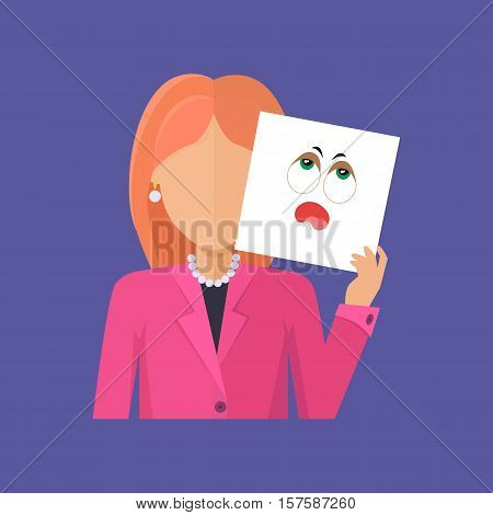 Woman character avatar vector. Flat style. Red-head female portrait with vapidity, sadness, fatigue, boredom, tediousness, emotional mask. Illustration for identity in Internet, mood concept, app icon