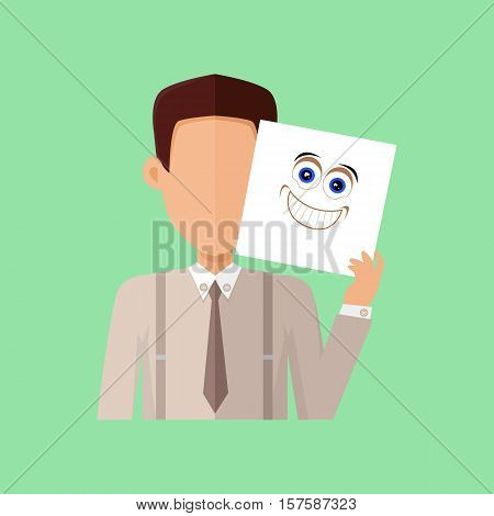 Man character avatar vector. Flat style. Male portrait with arousal, excitement, joy, surprise, ecstasy, rapture, pleasure emotional mask. Illustration for identity in Internet, mood concept icon