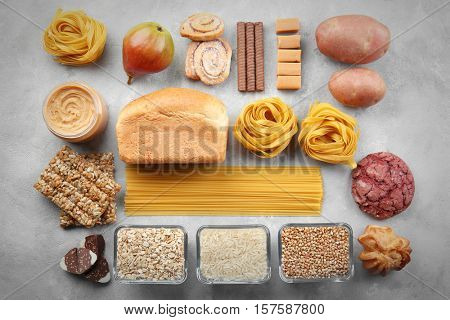 Set of different products, top view