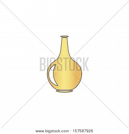 Amphora Gold vector icon with black contour line. Flat computer symbol
