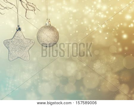 Silver Christmas balls over sparkling holiday background. Magic holiday lights. Merry Christmas and a Happy New Year