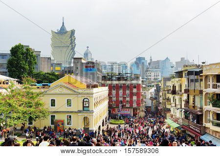 Macau - January 30, 2015: Streets Of The Historic Centre Of Macau. Macau Is A Popular Tourist Attrac