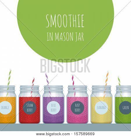 Smoothie Bar Poster. Smoothie Mason Jar. Vector Illustration.