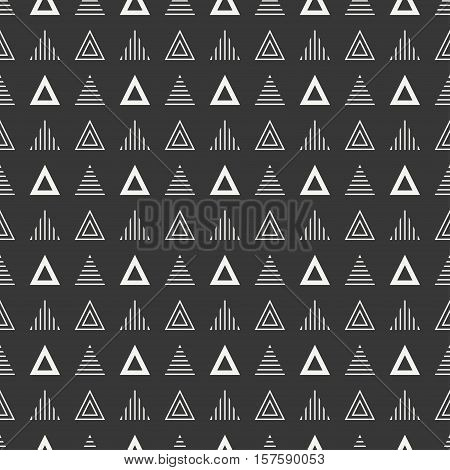 Geometric line monochrome abstract hipster seamless pattern with triangle. Wrapping paper. Scrapbook. Print. Vector illustration. Background. Graphic texture for design, wallpaper.
