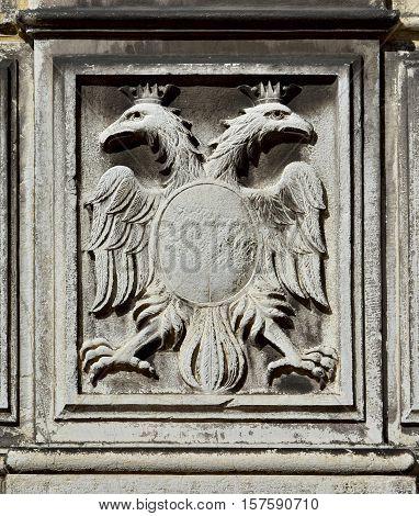Double-headed eagle symbol of the holy roman empire on a Venice wall
