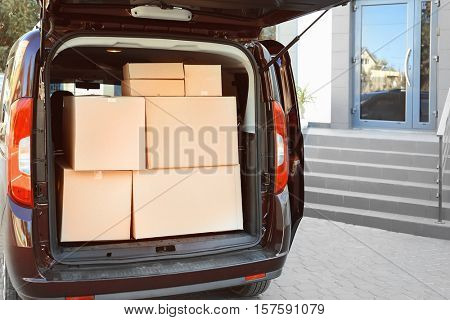 Delivery van with parcels