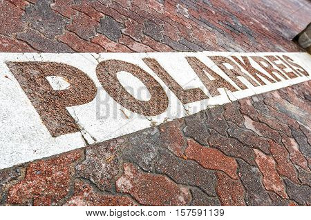Line Of The Arctic Circle In Rovaniemi, Finland.