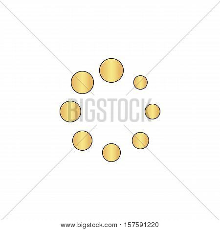 buffering Gold vector icon with black contour line. Flat computer symbol