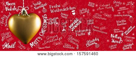 Merry Christmas greetings web banner from world in different languages with golden heart calligraphic text and font handwritten lettering