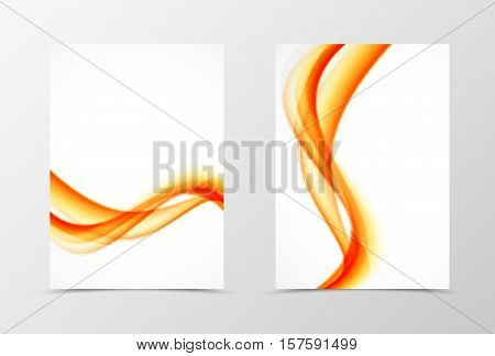 Front and back wavy flyer template design. Abstract template with orange transparent lines in soft style. Vector illustration