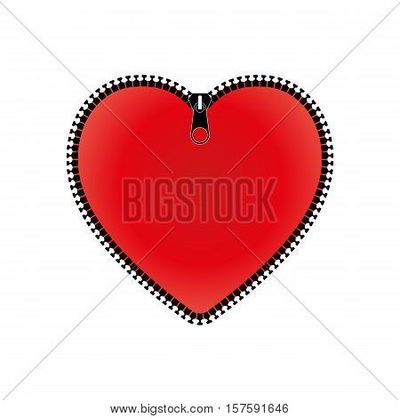 Red heart with zipper isolated on a white background vector illustration.
