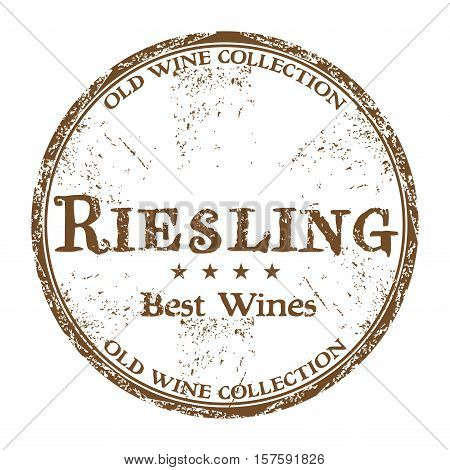 Brown grunge rubber stamp with the text best wines, Riesling, written inside the stamp
