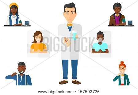 Woman brushing her teeth with a toothbrush. Woman taking care of her teeth. Smiling man holding toothbrush. Woman cleaning teeth. Set of vector flat design illustrations isolated on white background.