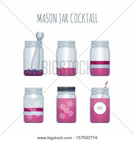 How To Make Cocktail In Mason Jar. Recipe Summer Cocktail In Mason Jar. Vector Illustration.