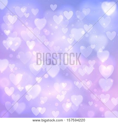 Abstract bokeh vector seamless pattern Valentine day love hearts. Bokeh texture abstract pattern fills background surface. Colorful abstract bokeh geometric ornament pattern or background blur design