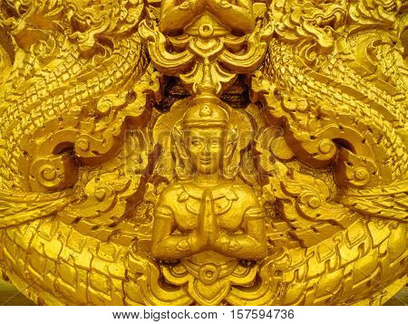 Golden Buddha in the temple of thailand